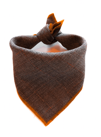 Burnt Orange and Brown Wool Dog Bandana