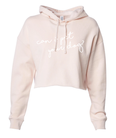 Can I Pet Your Dog? Cropped Hoodie - Blush