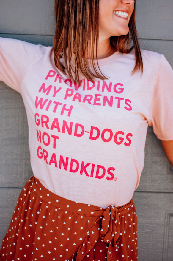 Cute Girl in Providing My Parents With Grand-dogs Not Grandkids Dog Mom T-Shirt sold by Royal Collections and Co.