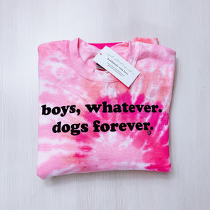 Dogs Forever Pink Tie-Die Crewneck sold by Royal Collections and Co. made by Dapper Paw