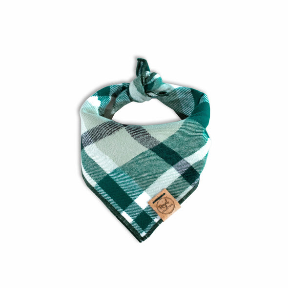 Emerald Flannel Dog Bandana made by Royal Collections and Co.