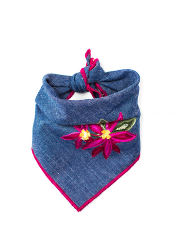 Floral Embroidered Denim Dog Bandana