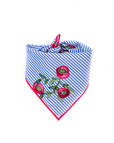 Floral Embroidered Striped Chambray Dog Bandana
