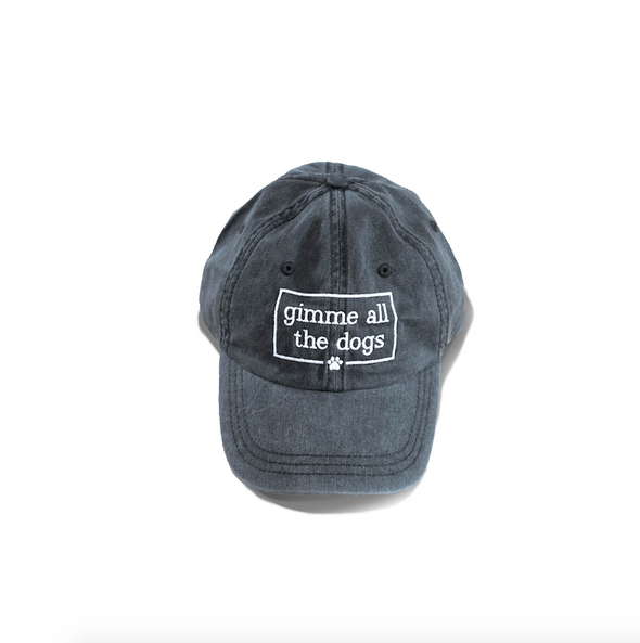 Gimme All The Dogs Dog Mom Hat in Charcoal sold by Royal Collections and Co. made by Dapper Paw