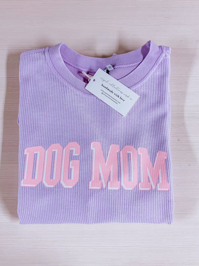 Spring Dog Mom Corded Crewneck