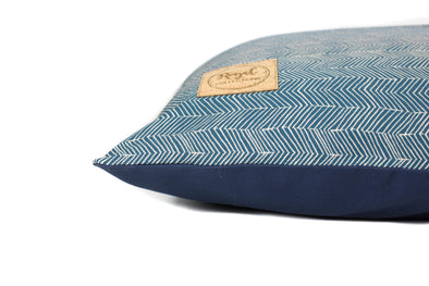 Navy Herringbone Dog Bed Cover
