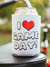 I heart Game Day Drink Sleeve Can Cooler Coozie made by Charlie Southern Sold by Royal Collections and Co football Fan