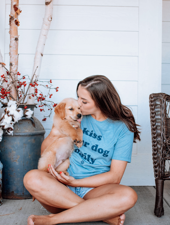 Kiss Your Dog Daily Dog Mom T-Shirt sold by Royal Collections and Co. made by Dapper Paw