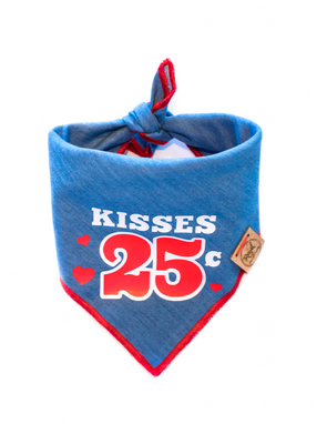 Kisses 25c Valentines Day Dog Bandana made by Royal Collections and Co.