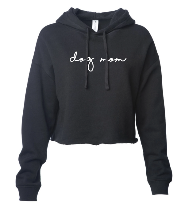 Minimal Dog Mom Cropped Hoodie - Black