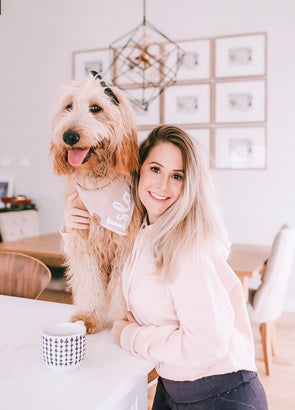 Dog Mom and Goldendoodle Dog in Minimal Dog Mom Cropped Hoodie - Blush by Royal Collections and Co.