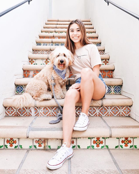 Dog Mom and Goldendoodle in Minimal Dog Mom T-Shirt Tan made by Royal Collections and Co.