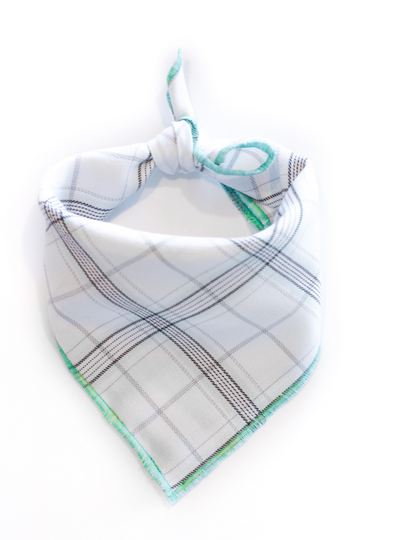 Minimal Mint Plaid Dog Bandana