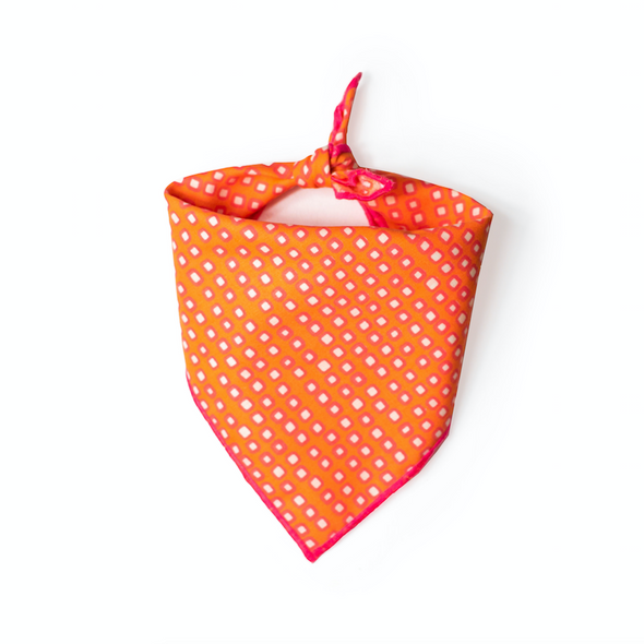 Orange and Pink Squares Dog Bandana