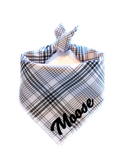 White and Black Grid Plaid Dog Bandana