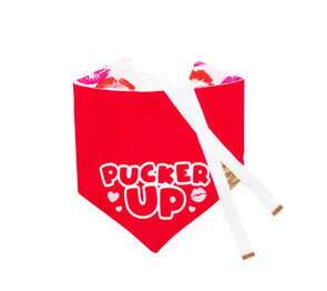Pucker Up Valentines Day Dog Bandana made by Royal Collections and Co.
