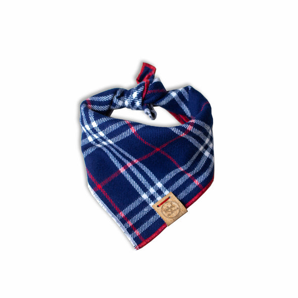 Red, White and Plaid Flannel Dog Bandana made by Royal Collections and Co.