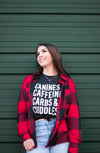 Caffeine, Canines, Carbs and Cuddles Dog Mom T-Shirt made by Royal Collections and Co.