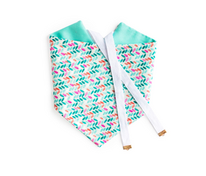 Pastel Petals - Blue Reversible Dog Bandana