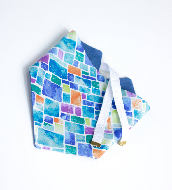 Blue Mosaic Reversible Summer bandana made by Royal Collections and Co.