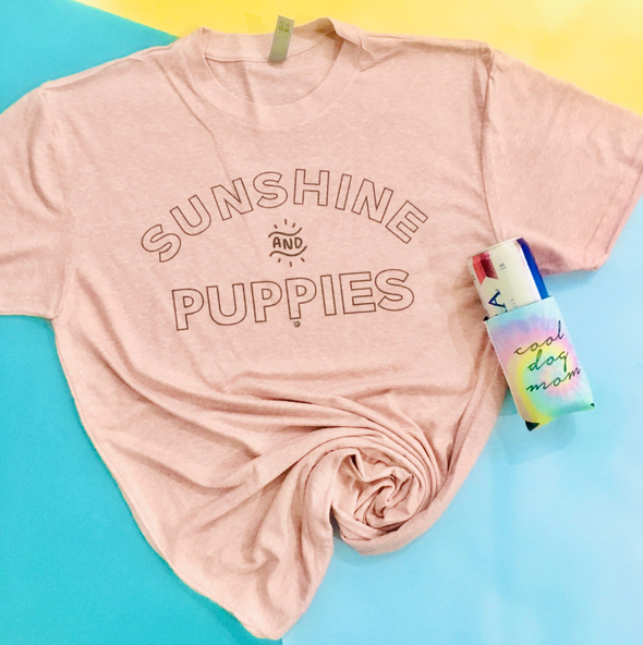Sunshine and Puppies Dog Mom T-Shirt sold by Royal Collections and Co.