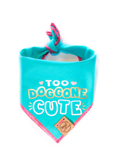 Too Doggone Cute - Aqua Valentines Day Dog Bandana made by Royal Collections and Co.