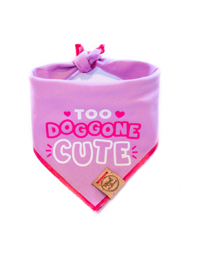 Too Doggone Cute - Purple Valentines Day Dog Bandana made by Royal Collections and Co.