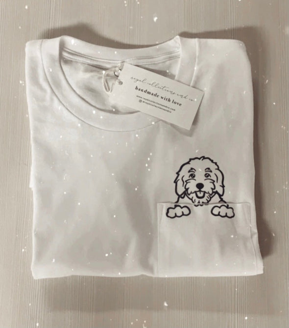 White Pocket Doodle Mom Tee