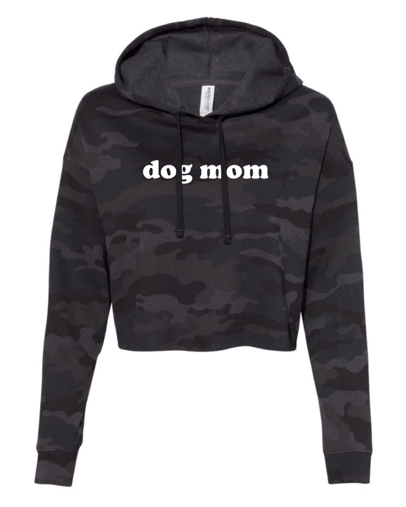 LIMITED EDITION Black Camo Dog Mom Cropped Hoodie by Royal Collections and Co.