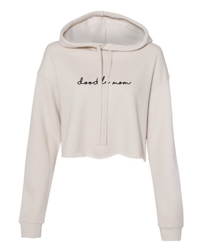 Minimal Dog Mom Cropped Hoodie - Tan by Royal Collections and Co.