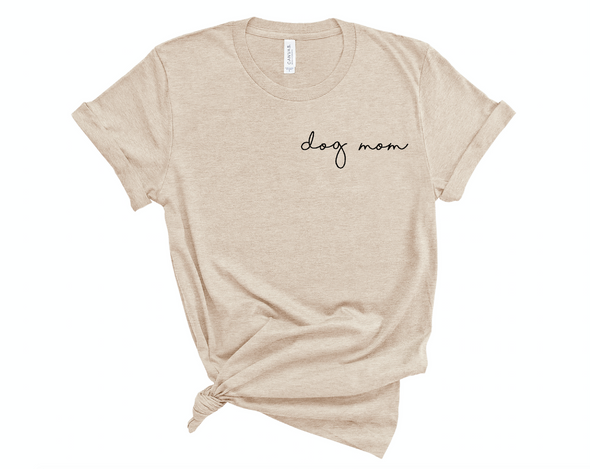 Minimal Dog Mom T-Shirt Tan made by Royal Collections and Co.
