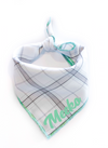 Minimal Mint Plaid Dog Bandana made by Royal Collections and Co.