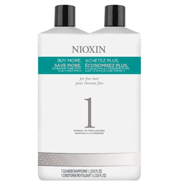 Nioxin System 1 Cleanser & Scalp Therapy Liter Duo by Nioxin - Luxury Perfumes Inc. -