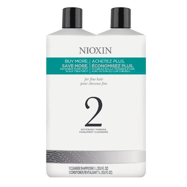 Nioxin System 2 Cleanser & Scalp Therapy Liter Duo by Nioxin - Luxury Perfumes Inc. -