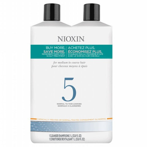Nioxin System 5 Cleanser & Scalp Therapy Liter Duo by Nioxin - Luxury Perfumes Inc. -