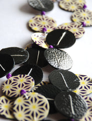 Dots Necklace Recycled Leather and Japanese Paper