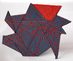 "Brooch ""Fractal"" Recycled Leather Brights by Mainichi"