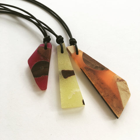 Resin and Recycled Timber Pendant Necklace by Mainichi