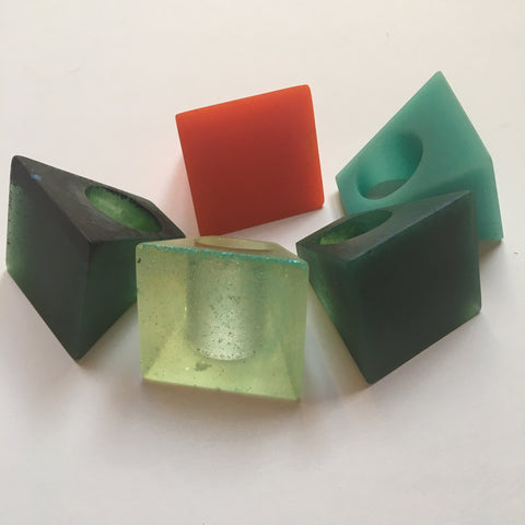 Prism Resin Rings handcast by Mainichi