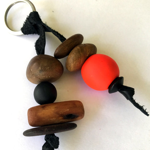 Australian recycled wood bead keyring by Mainichi