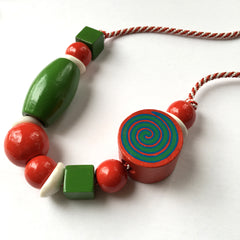 Recycled wood bead colourful necklace by Mainichi