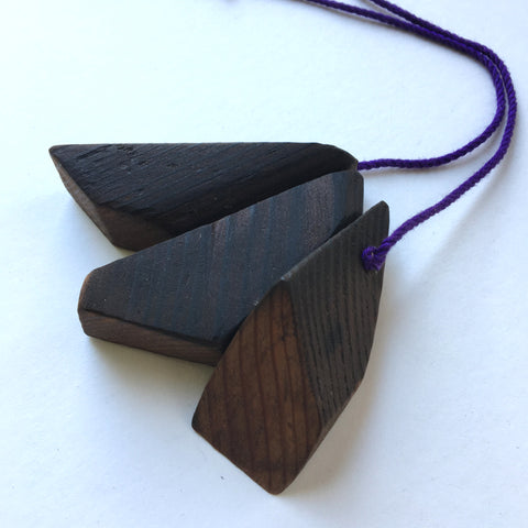 Oregon recycled timber bead necklace by Mainichi