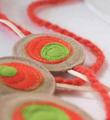 Shinzo Necklace with Rope - Beige/Orange/Lime