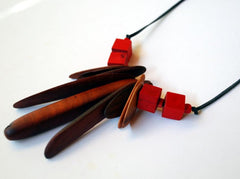 Australian recycled wood bead necklace, red by Mainichi