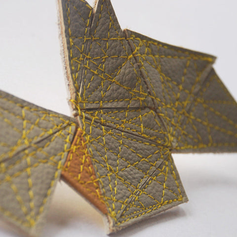 Fractal recycled leather brooch by Mainichi