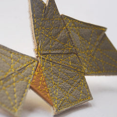 "Brooch ""Fractal"" Recycled Leather Neutrals by Mainichi"