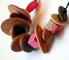 Australian recycled wood bead necklace, pink by Mainichi