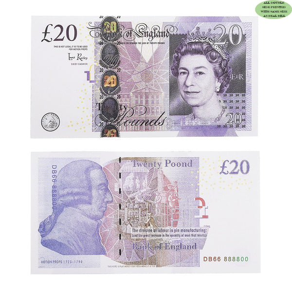 100X20£ Prop Money that Looks Real, fake 20 pound notes,Play