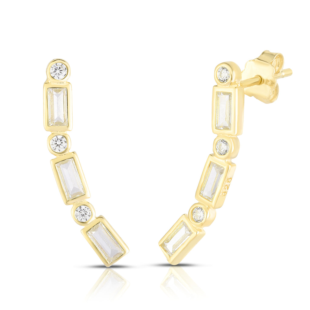 Zeta Baguette Ear Crawlers - Spoil Cupid Jewelry