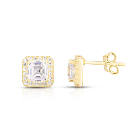 Yvonne Asscher Cut Halo Earrings - Spoil Cupid Jewelry